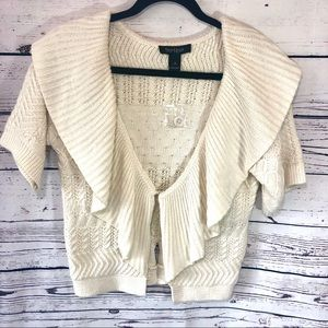 WHBM Heavy Crochet/Knit Short Sleeve Cardigan S